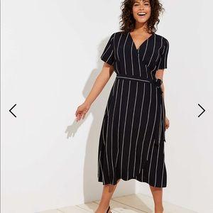 LOFT black striped wrap midi dress L - BEST DRESS!
